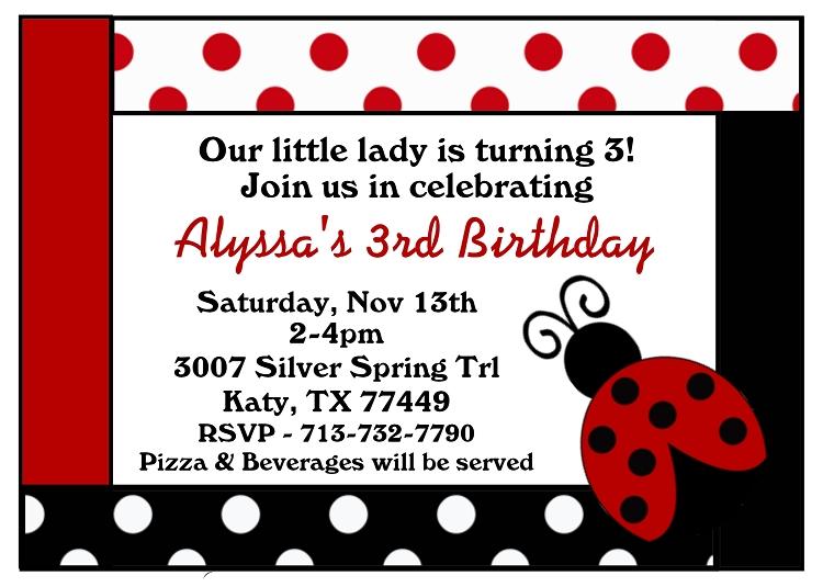 Red Black And White Polka Dot Ladybug Birthday Invitations
