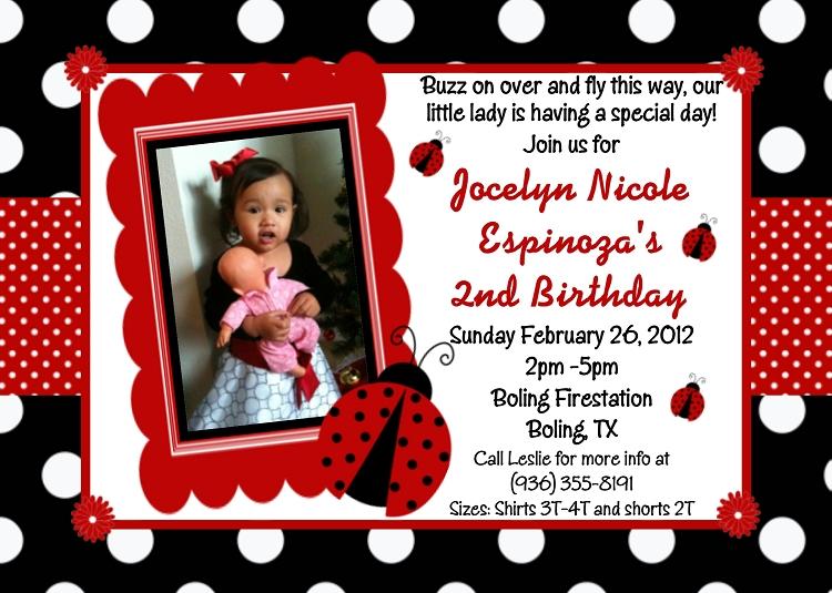 1st Birthday Ladybug Photo Invitations