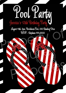 Striped Flip Flops | Pool Party Invitations - Printable or Printed