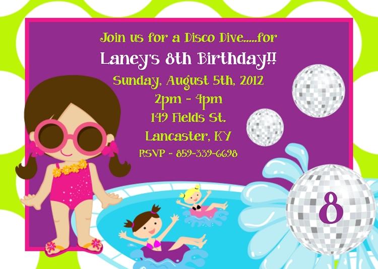 kids pool party invitations printable or printed