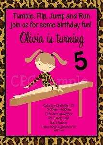 Leopard Print Gymnastics Birthday Invitations - Printable or Printed