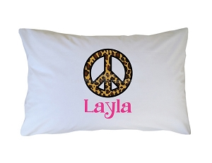 Personalized Leopard Print Peace Sign Pillow Case for Kids, Adults and Toddler