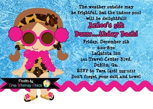 Winter Pool Party Invitations Leopard Animal Print - Printable or Printed