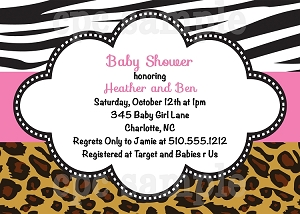 Animal Print Baby Shower Invitations