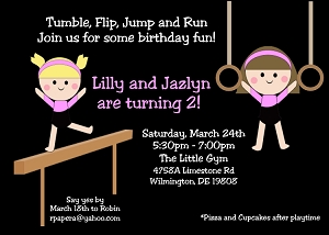 Twin Girls Gymnastics Birthday Party Invitations or Invites - Printable or Printed