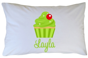 Personalized Lime Green Cupcake Pillow Case for Kids, Adults and Toddler