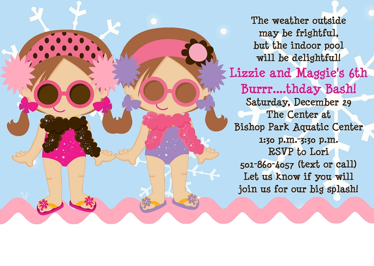 girl twins or siblings winter pool party invitations printable or