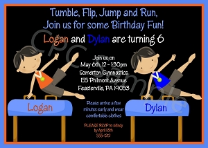 Twin Boys Gymnastics Birthday Party Invitations - Printable or Printed