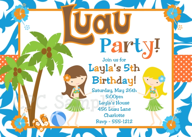 graphic about Hawaiian Theme Party Invitations Printable known as Twins or Sibling Luau Get together Pool Celebration Invites - Printable