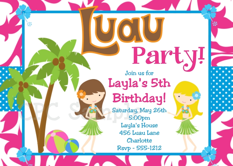 luau party invitations pool party invitations printable or printed