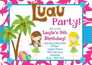Luau Party Invitations | Pool Party Invitations - Printable or Printed