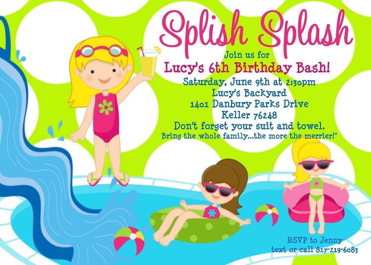 girls pool party invitations printable or printed