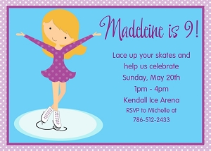 Girls Ice Skating Invitations - Printable or Printed