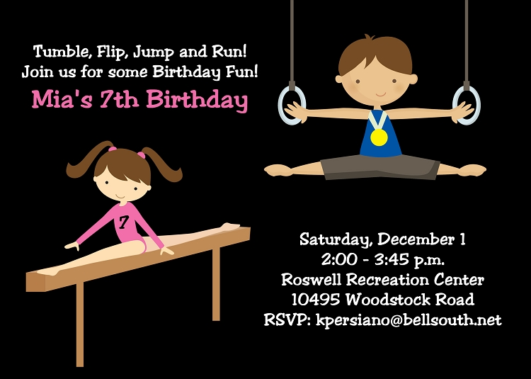 Gymnastics Birthday Party Invitations For Boys And Girls