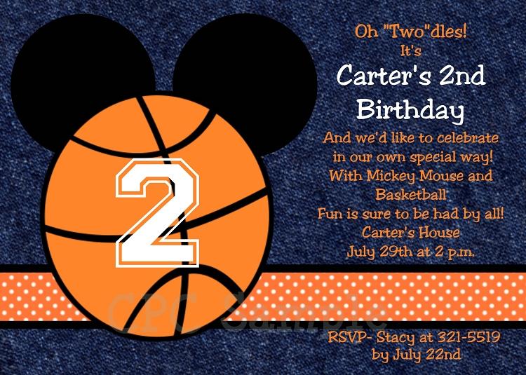 Basketball Mickey Mouse Invitations Printable Or Printed
