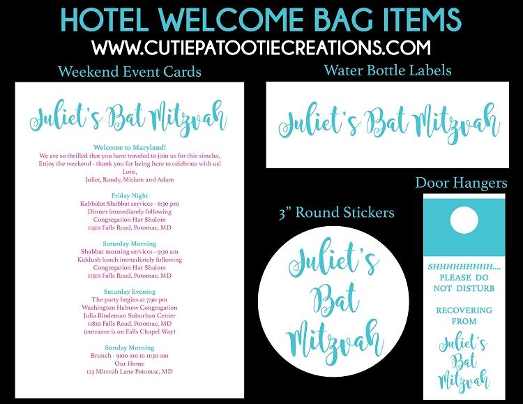Hotel Welcome Bag Weekend Event Cards, Water Bottle Labels, Door