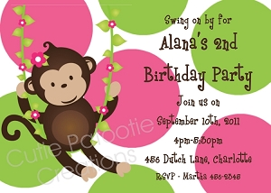 Pink and Green Mod Monkey Invitations | Animal Invitations - Printable or Printed