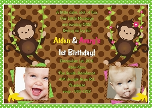 Twin Or Siblings Photo Invitations