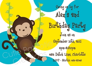 Green and Pink Mod Monkey Invitations | Animal Invitations - Printable or Printed