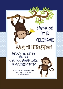 Brown and Blue Mod Monkey Birthday Invitations | Animal Invitations - Printable or Printed