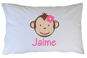 Personalized Mod Monkey Pillow Case for Kids, Adults and Toddler