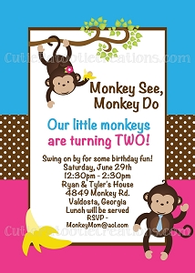 Monkey Birthday Invitations for Twins or Siblings
