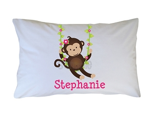 Personalized Monkey Pillow Case for Kids, Adults and Toddler