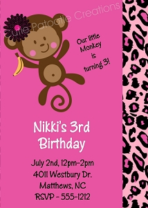 Cheetah and Leopard Print Jungle Monkey Birthday Invitations | Animal Invitations - Printable or Printed