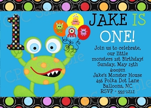 Monster Birthday Invitations | 1st Birthday Invitations - Printable or Printed