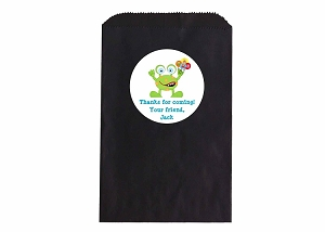 Little Monster Party Favor Bags and Personalized Stickers
