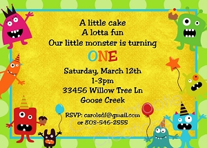Little Monsters Birthday Invitations - Printable or Printed