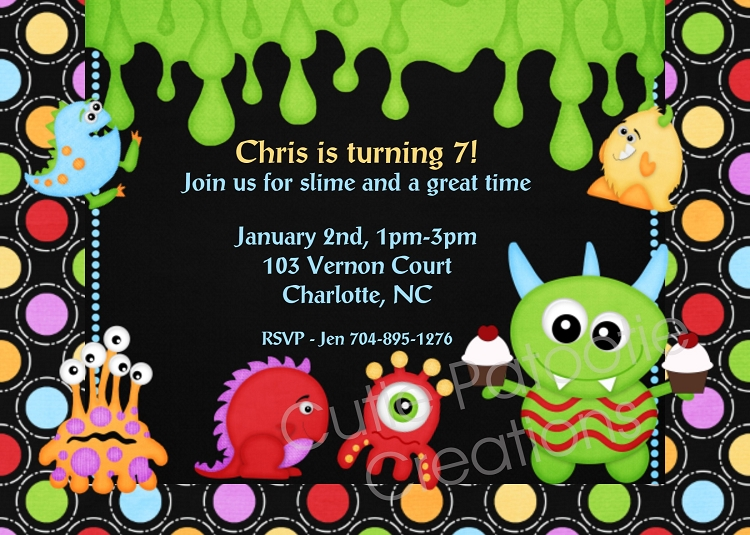 monster birthday party invitations and decorations