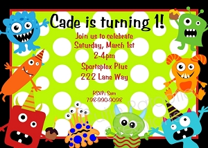 Monster Birthday Invitations - Printable or Printed