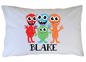 Personalized Little Monster Pillow Case for Kids, Adults and Toddler
