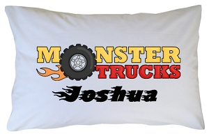 Personalized Monster Truck Pillow Case for Kids, Adults and Toddler