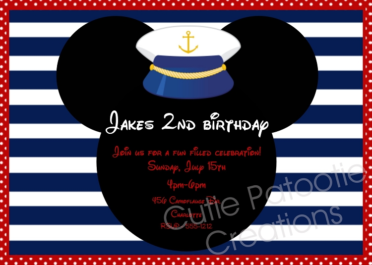 sailor hat mickey mouse birthday invitations printable or printed