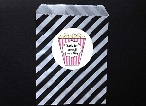 Movie Popcorn Party Favor Bags and Personalized Stickers
