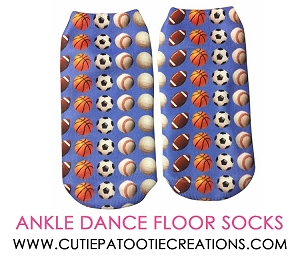 Multi Sports Dance Floor Party Socks for Mitzvahs - Ankle No Show Socks