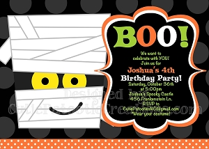 Mummy Halloween Party Invitations - Printable or Printed