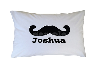 Personalized Black Mustache Pillow Case for Kids, Adults and Toddler
