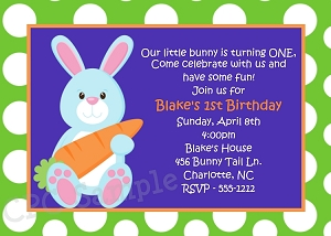 Boy Easter Bunny Birthday Invitations in Green and Blue