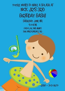 Blue Pool Party Invitation for Boys