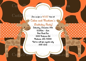Giraffe Twins Birthday Invitations - Printable | Printed