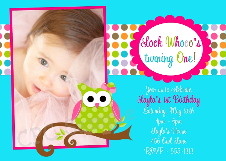 Owl 1st Birthday Party Invitations In Turquoise Blue