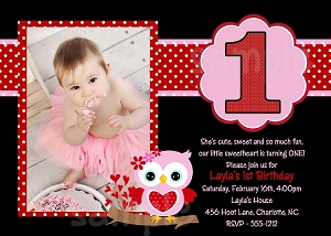 Pink and Black Valentine's Day Photo Invitation - Printable or Printed