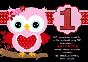 Pink, Red and Black Valentine's Day Owl Invitation - Printable or Printed