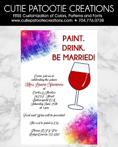 Paint and Sip Bridal Shower Invitations - Bachelorette Party Invitations