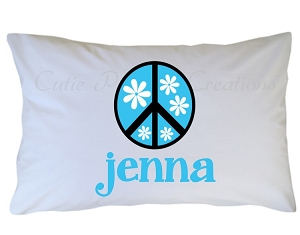 Personalized Peace Sign Pillow Case for Kids, Adults and Toddler