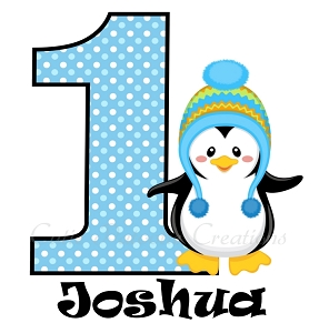 Personalized Penguin Birthday TShirt or Onesie | Baby Clothes (Any Name Any Number)