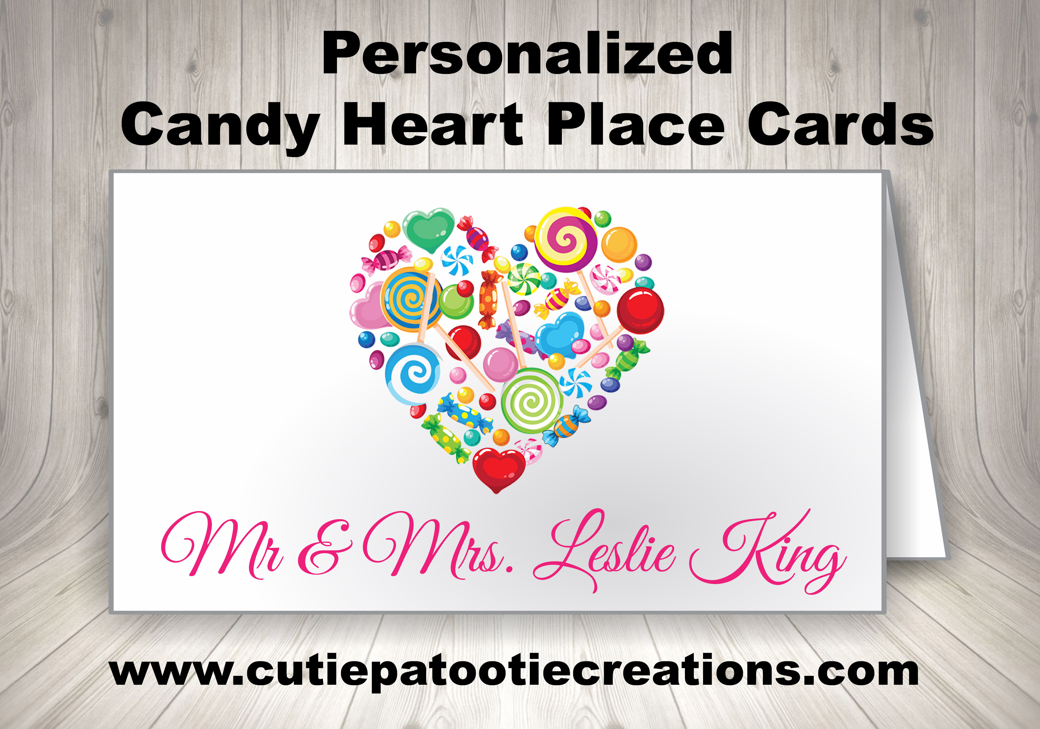 Personalized Candy Theme Place Cards for Bar and Bat